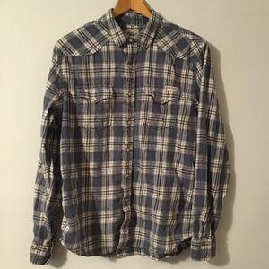 Lucky Brand  Men's Blue Snap Button Flannel